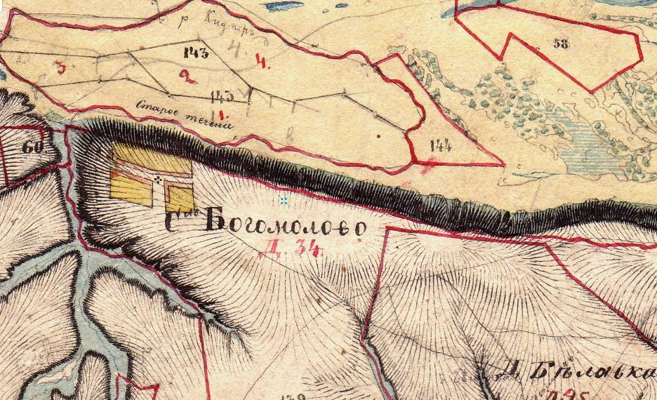 Деревня Богомолово на карте Менде 1850 года