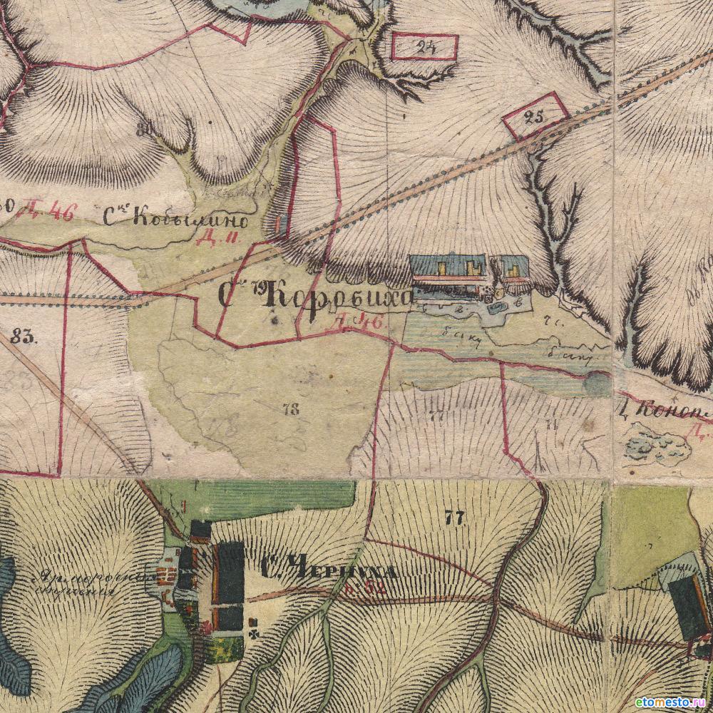 деревня Коробиха на картах менде
