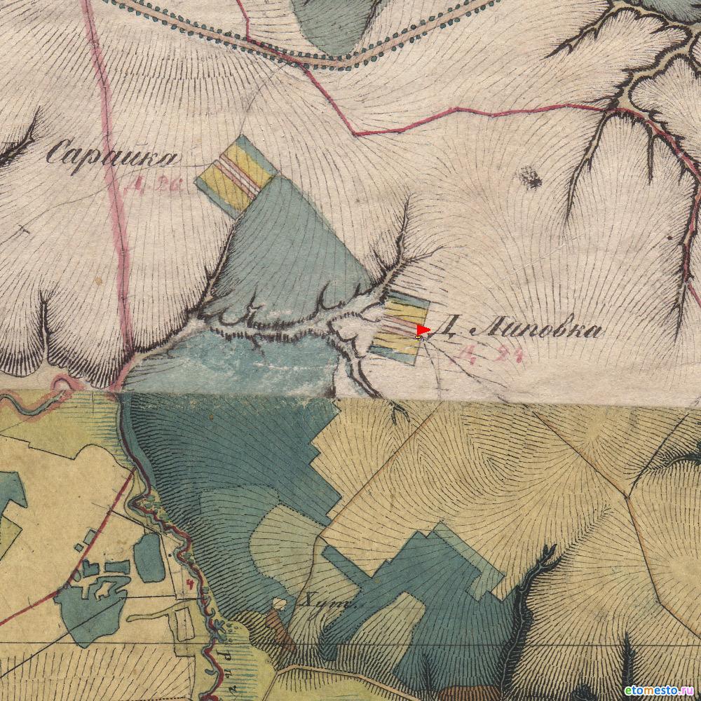 деревня Липовка. Воротынский район. На картах Менде 1850 года.