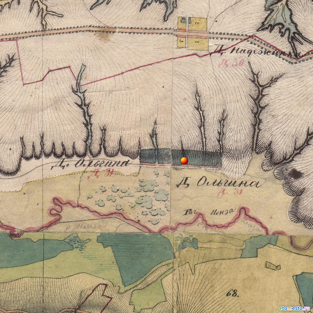 Деревня Ольгино. Воротынского района. На картах Менде 1850 года.